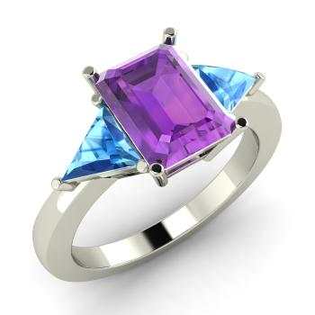 Vidette Engagement Ring with Emerald cut Amethyst Blue Topaz