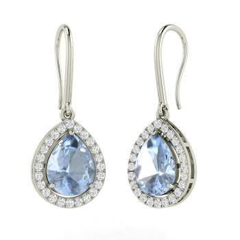 Pear Cut Aquamarine And Diamond Drops Earring In Sterling Silver