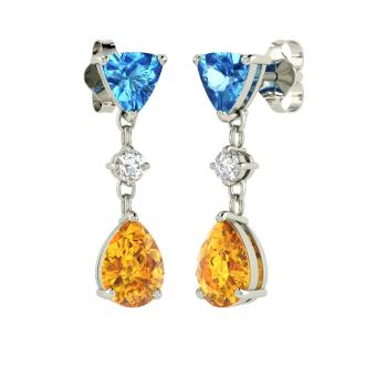 Vitale earring with triangle cut blue topaz citrine vs diamond triangle cut blue topaz chandelier earring in 14k white gold with citrine vs diamond aloadofball Image collections