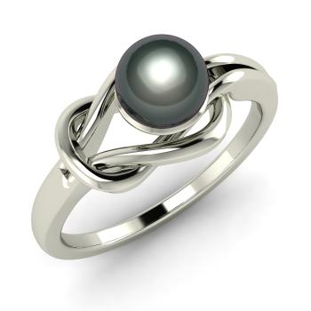 Black Pearl Solitaire Engagement Ring In 14k White Gold