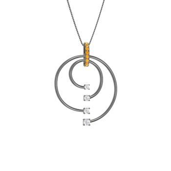 c08b646037e64e Wenim Necklace with Round Citrine, SI Diamond | 0.32 carat Round ...