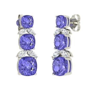 7c8bdcd9d9159c Cushion-Cut Tanzanite and VS Diamond Chandelier Earring in 14k White Gold