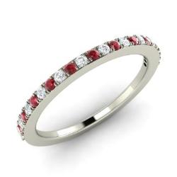 Ruby wedding ring ruby wedding band diamondere ruby and diamond wedding ring in 14k white gold 023 ct junglespirit Image collections