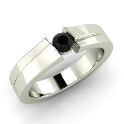 Verity Ring with Round Black Diamond, VS Diamond | 2 0