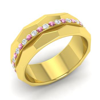 Yola ring with round pink tourmaline si diamond 05 carat round pink tourmaline and diamond wedding ring in 18k yellow gold junglespirit Image collections