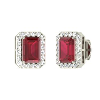 Emerald Cut Ruby And Vs Diamond Studs Earring In 14k White Gold