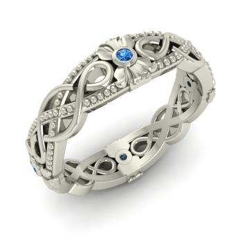 Delicieux Blue Topaz Wedding Ring In Sterling Silver