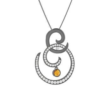 d5933076ec51a4 Zeva Necklace with Round Citrine, SI Diamond | 0.63 carat Round ...