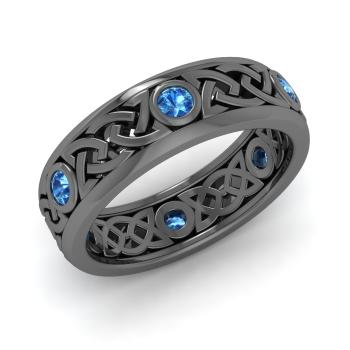 Blue Topaz Wedding Ring In 10K Black Gold