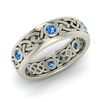 Blue Topaz Wedding Ring In 18k White Gold