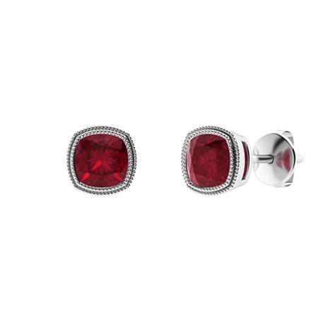 Dividiamonds Womens /& Girls 0.48 Ctw Round Cut Ruby /& Sim Diamond Hoops Earrings In 14K Gold Plated 925