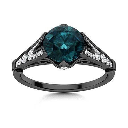 Liamay Ring With Round Blue Diamond Si Diamond 1 29 Carats Round Blue Diamond Sidestone Ring In 14k Black Gold Diamondere